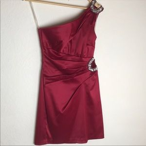 Teeze Me Red One Shoulder Dress Juniors Size 5